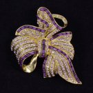 "Vintage Style Bowknot Flower Brooch Pin 2.7"" W/ Purple Rhinestone Crystals"