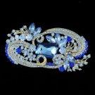 """Silver Tone Sea Blue Flower Brooch Broach Pin 4.1"""" Rhinestone Crystals"""