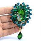 """3.5"""" Gold Tone Flower Brooch Broach Pin W/ Emerald Rhinestone Crystals"""