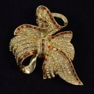 Vintage Style Rhinestone Crystals Brown Bow Bowknot Brooch Broach Pin 2.7""