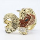 Rhinestone Crystals Vintage Style Brown Steed Horse Bracelet Bangle Cuff