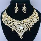 Wedding Clear Leaf Flower Necklace Earring Set W/ Rhinestone Crystals 02536