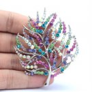 "Multicolor Tree Leaf Flower Brooch Broach Pin 2.5"" Rhinestone Crystals"