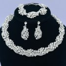 Flower Necklace Bracelet Earring Set 04413 W/ Clear Rhinestone Crystals Wedding