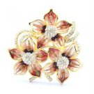 "Chic Pretty Red Flower Brooch Broach Pin 2.1"" W/ Rhinestone Crystals"