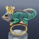 Crown Chameleon Gecko Lizard Cocktail Ring Size 7# W/ Blue Swarovski Crystals