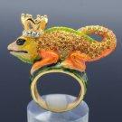 Crown Chameleon Gecko Lizard Cocktail Ring Size 8# W/ Topaz Swarovski Crystals