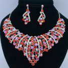 Silver Tone Red Flower Necklace Earring Set W/ Rhinestone Crystals 02554