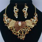 Brown Calla Flower Necklace Earring Set 02521 Rhinestone Crystals Vintage