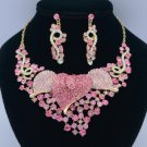 Popular Pink Calla Flower Necklace Earring Set 02521 Rhinestone Crystals Vintage