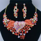 Popular Calla Flower Necklace Earring Set 02521 Red Rhinestone Crystals Vintage