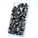 Jew Swarovski Crystals Black Starfish Skull Cover Case Shell For iPhone 4/4S