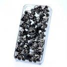 Jew Swarovski Crystals Black Starfish Skull Cover Case Shell For iPhone 4/4S