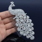 Clear Rhinestone Crystals Vogue Bridal Peafowl Peacock Hair Comb Tiara