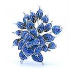 """Flower Brooch Broach Pin w/ Blue Swarovski Crystals 2.5"""" H-Quality"""