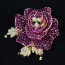"Rose Flower Brooch Broach Pin 2.1"" W/ Purple Rhinestone Crystals"