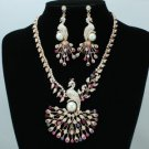 H-Quality Rose Gold Mix Peafowl Peacock Necklace Earring Set W Swarovski Crystal