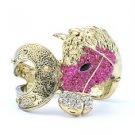 Rhinestone Crystals Vintage Style Fuchsia Steed Horse Bracelet Bangle Cuff