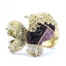 Rhinestone Crystals Vintage Style Purple Steed Horse Bracelet Bangle Cuff