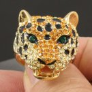 Gorgeous Topaz Swarovski Crystals Leopard Panther Cocktail Ring USA:8#,UK:P1/2