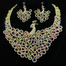 Swarovski Crystals Animal Multicolor Peafowl Peacock Necklace Earring Set Unique
