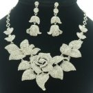 Bridal Leaf Clear Bud Rose Flower Necklace Earring Set W/ Swarovski Crystals