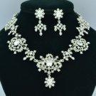 Clear Swarovski Crystal Flower Necklace Earring Set for Bridal Wedding 20355R