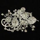 """Bridal Clear Flower Brooch Broach Pin 4.3"""" Wedding Rhinestone Crystals 4072"""