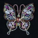 "Rhinestone Crystals Fashion Purple Butterfly Brooch Broach Pin 3.7"" 4920"