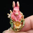 High Quality Animal Pink Rabbit Cocktail Ring Size 8# W/ Swarovski Crystals