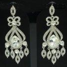 Rhinestone Crystals Wedding Strip Drop Dangle Pierced Flower Earring 115132
