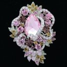 "Silver Tone Flower Brooch Broach Pin 3.0"" W/ Pink Rhinestone Crystals 6039"