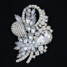 "Bridal Wedding Floral Flower Brooch Broach Pin 3.5"" w/ Rhinestone Crystals 4622"