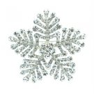 "Popular Clear Snowflake Brooch Pin 2.4"" w/ Rhinestone Crystals For Wedding 8803"