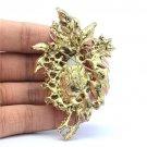 "Cute Retro Flower Pendant Brooch Pin 2.9"" W/ Brown Rhinestone Crystals"