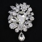 "3.1"" Rhinestone Crystals Pretty Clear Flower Pendant Brooch Pin Wedding 3857"