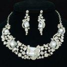 Bridal Ribbon Necklace Earring Set W/ Rhinestone Crystal Clear Oblong 02432