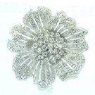 """Wedding Bride Clear Flower Brooch Pendant Pin 2.3"""" Rhinestone Crystals 6016"""