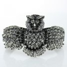 Vintage Style Animal Owl Bracelet Bangle Cuff W/ Gray Rhinestone Crystals