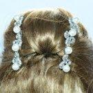 Clear Rhinestone Crystal Wedding 3 Flower Hair Comb w/ Imitation Pearls 101RJK