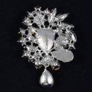 """beauty Capri Blue Pretty Flower Brooch Scarf Pin 3.1"""" Rhinestone Crystals 3857"""