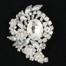 """Bridal Clear Flower Pendant Brooch Broach Pin 3.1"""" W/ Rhinestone Crystals 4883"""
