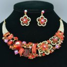 Ellipse Oblong Flower Necklace Earring Set W/ Red Rhinestone Crystals 02543