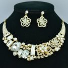 Ellipse Oblong Flower Necklace Earring Set W/ Clear Rhinestone Crystals 02543