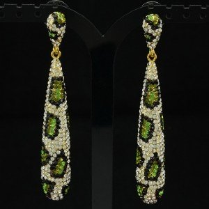 Leopard Print Dangle Green Teardrop Pierced Earring W/ Rhinestone Crystal 134980