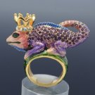 Gecko Lizard Crown Chameleon Cocktail Ring 8# W/ Purple Swarovski Crystals
