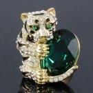 Cute Fashion Feral Tiger Cocktail Ring Adjustable w/ Clear Swarovski Crystals