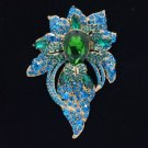 "Chic Trendy Blue Flower Brooch Broach Pin 3.9"" W/ Rhinestone Crystals"