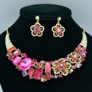 Ellipse Oblong Flower Necklace Earring Set W/ Fuchsia Rhinestone Crystals 02543