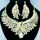 Gold Tone Clear Rhinestone Crystals Leaf Flower Necklace Earring Sets 02643